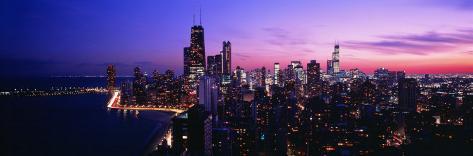 Night, Cityscape, Chicago, Illinois, USA Photographic Print