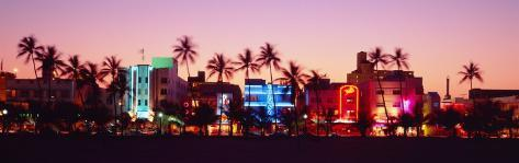 Night, Ocean Drive, Miami Beach, Florida, USA Photographic Print
