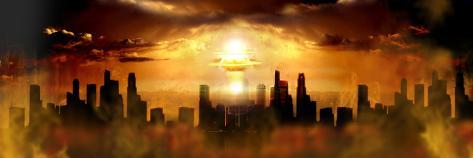 Nuclear Blast Behind City Photographic Print