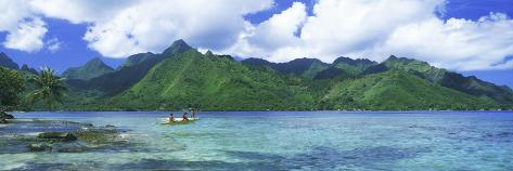 Polynesian People Rowing a Yellow Outrigger Boat in the Bay, Opunohu Bay, Moorea, Tahiti, French... Photographic Print