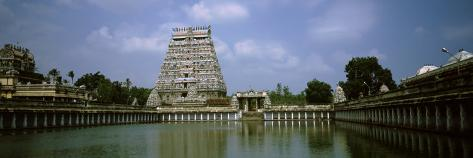 Pond in Front of a Temple, Chidambaram Temple, Chidambaram, Cuddalore District, Tamil Nadu, India Stretched Canvas Print