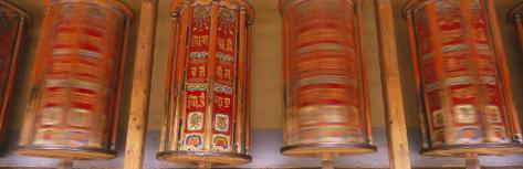 Prayer Wheels, Gansu Province, China Photographic Print