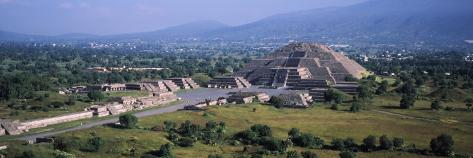 Pyramid on a Landscape, Moon Pyramid, Teotihuacan, Mexico Photographic Print