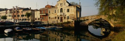Reflection of Boats and Houses in Water, Venice, Veneto, Italy Photographic Print