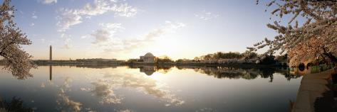 Reflection of Memorials in Water, Jefferson Memorial, Washington Monument, Washington DC, USA Photographic Print