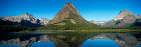 Reflection of Mountains in Lake, Swiftcurrent Lake, Many Glacier, Us Glacier National Park, Montana Photographic Print