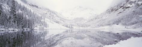 Reflection of Snowcapped Mountains in a Lake, Maroon Lake, Maroon Bells, Aspen, Colorado, USA Photographic Print