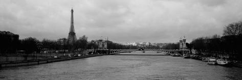 River with a Tower, Seine River, Eiffel Tower, Paris, Ile-De-France, France Photographic Print