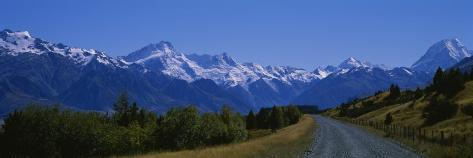 Road Running through a Landscape, Mt. Cook, Southern Alps, New Zealand Photographic Print