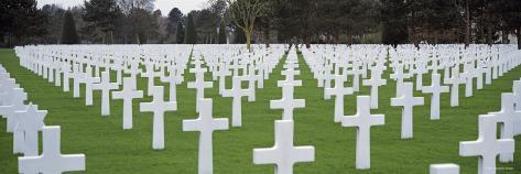 Rows of Tombstones in a Cemetery, American Cemetery, Normandy, France Photographic Print