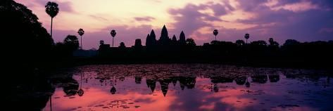 Silhouette of a Temple at Dusk, Angkor Wat, Siem Reap, Angkor, Cambodia Photographic Print