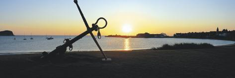 Silhouette of an Anchor on the Beach at Sunrise, North Berwick, East Lothian, Scotland Photographic Print
