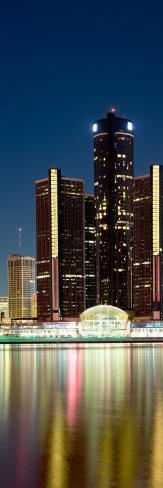 Skyscrapers Lit Up at Dusk, Renaissance Center, Detroit River, Detroit, Michigan, USA Photographic Print