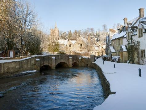 Snow Covered Castle, Castle Combe, Wiltshire, England Photographic Print