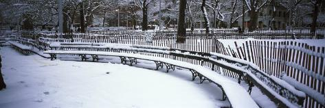 Snowcapped Benches in a Park, Washington Square Park, Manhattan, New York, USA Photographic Print