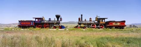 Steam Engine Jupiter and 119 on a Railroad Track, Golden Spike National Historic Site, Utah, USA Photographic Print