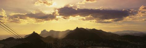 Sugarloaf of Buildings in a City at Dusk, Rio de Janeiro, Brazil Photographic Print
