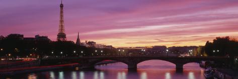 Sunset, Romantic City, Eiffel Tower, Paris, France Photographic Print