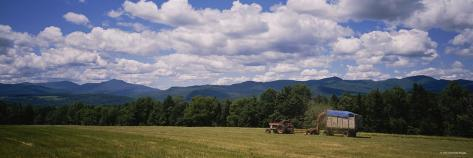 Tractor on a Field, Waterbury, Vermont, USA Photographic Print