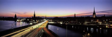 Traffic on a Highway, Stockholm, Sweden Photographic Print
