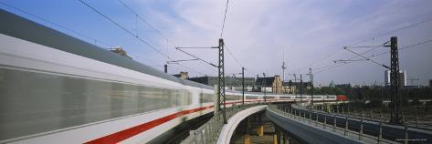 Train on Railroad Tracks, Central Station, Berlin, Germany Photographic Print