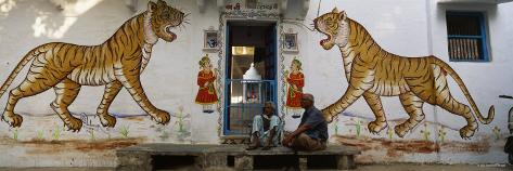 Two Mature Men Sitting in Front of a Door of a Building, Udaipur, Rajasthan, India Photographic Print
