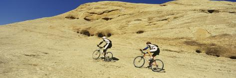 Two Men Mountain Bilking on Rocks, Slickrock Trail, Moab, Utah, USA Photographic Print