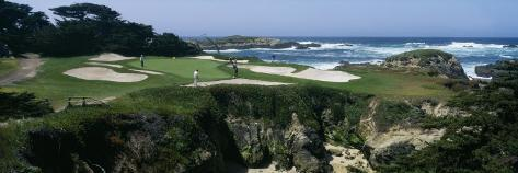 View of People Playing Golf at a Golf Course, Cypress Point Club, Pebble Beach, California, USA Photographic Print