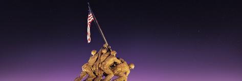 War Memorial at Twilight, Iwo Jima Memorial, Rosslyn, Arlington, Arlington County, Virginia, USA Photographic Print