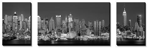 West Side Skyline at Night in Black and White, New York, USA Canvas Art Set