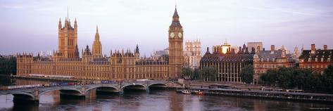 Westminster Bridge, Big Ben, Houses of Parliament, Westminster, London, England Photographic Print
