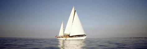 Yacht Sailing in the Sea Photographic Print