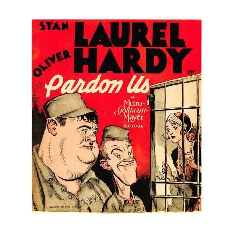 PARDON US, from left: Oliver Hardy, Stan Laurel on window card, 1931. Art Print