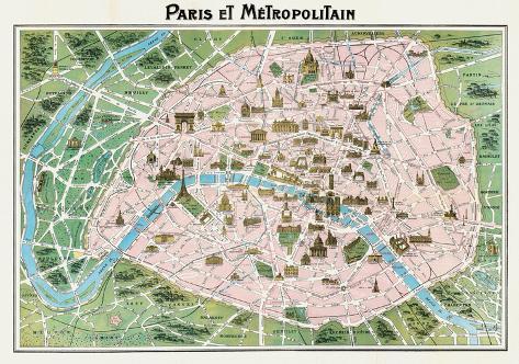 Parigi (Paris Map) - Vintage Style Italian Map Poster Poster