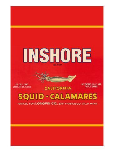 Inshore Brand Squid - Calamares Art Print