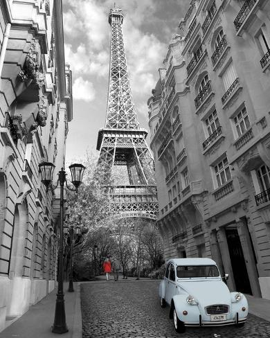 Paris-Red Girl Blue Car Mini Poster