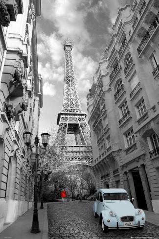 Paris, röd flicka, blå bil Poster