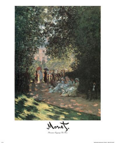 Parisians Enjoying Park Claude Monet Mini Poster