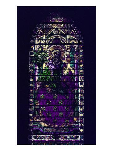 Stained-Glass Window with Figure of Saint Martyr Enthroned Giclee Print