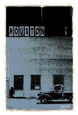 Houston, Vice City in Grey Art Print
