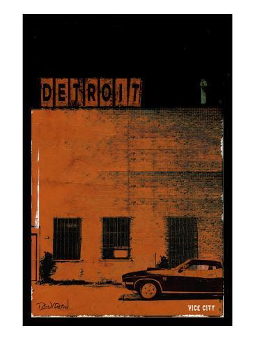 Vice City Detroit- Red Art Print