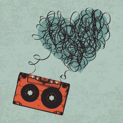 Vintage Audio Cassette Illustration with Heart Shaped Messy Tape. Vector, Eps10 Art Print