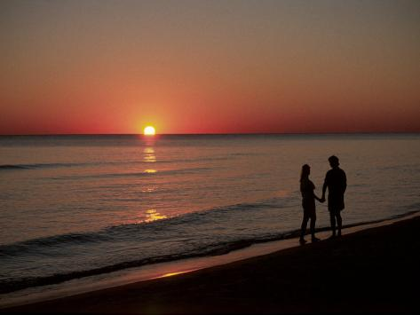 Silhouette of Couple on Beach at Sunset, FL Photographic Print