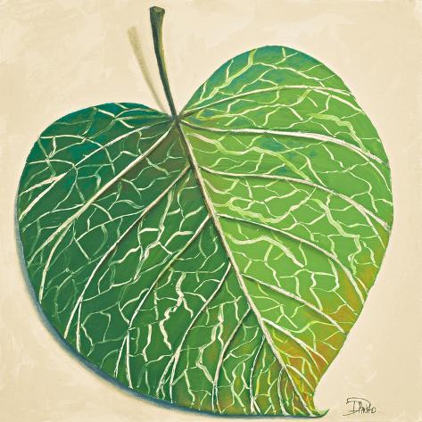 Veins of Green Leaf on Cream I Stampa artistica