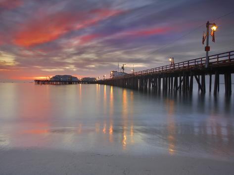 Sunset View of Stearns Wharf, a Central Attraction on the Beach in Santa Barbara, California, USA Photographic Print