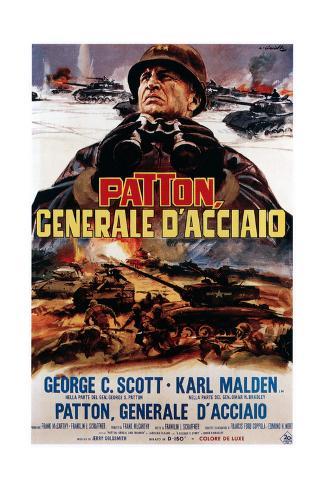 Patton ,(AKA Patton Cenerale D'Acciaio), Italian Poster Art, George C. Scott, 1970 Impressão giclée