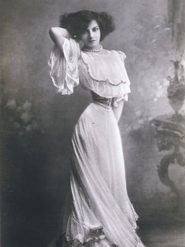 Polaire French Music Hall Entertainer in an Elegant White Dress Photographic Print