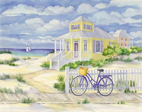 Beach Cruiser Cottage II Art Print