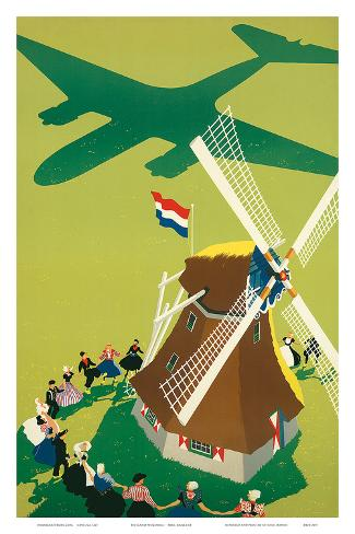 KLM Royal Dutch Airlines: Holland Windmill, c.1945 Art Print