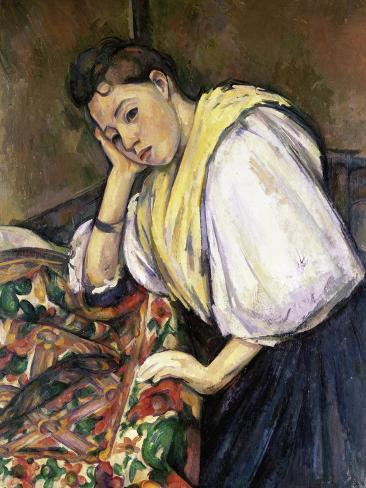 Italian Girl Leaning on a Table Giclee Print